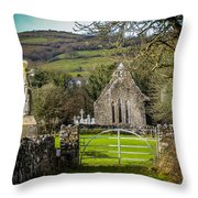 12th Century Cross And Church In Ireland Throw Pillow