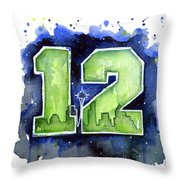 12th Man Seahawks Art Seattle Go Hawks Throw Pillow
