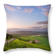 Beautiful English Countryside Landscape Over Rolling Hills Throw Pillow