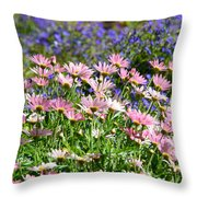 Background Of Colorful Flowers Throw Pillow