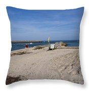 Fishing At Sebastian Inlet In Florida Throw Pillow