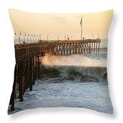 Ocean Wave Storm Pier Throw Pillow