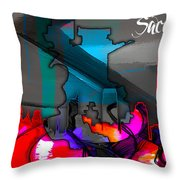 Sacramento Map And Skyline Watercolor Throw Pillow