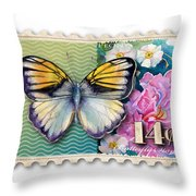 14 Cent Butterfly Stamp Throw Pillow
