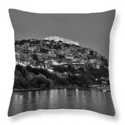 Molyvos Village During Dusk Time Throw Pillow