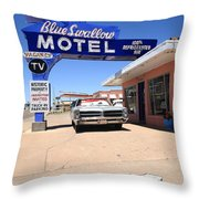 Route 66 - Blue Swallow Motel Throw Pillow
