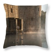 Stunning Moat And Castle In Autumn Fall Sunrise With Mist Over M Throw Pillow