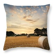 Stunning Summer Landscape Of Hay Bales In Field At Sunset Throw Pillow