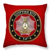 14th Degree - Perfect Elu Jewel On Red Leather Throw Pillow