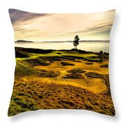 #15 At Chambers Bay Golf Course  Throw Pillow by David Patterson