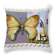 15 Cent Butterfly Stamp Throw Pillow