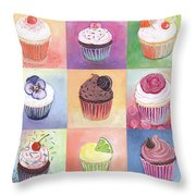 15 Cupcakes Throw Pillow