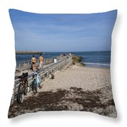 Fishing At Sebastian Inlet In Florida Throw Pillow