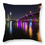 Miami Downtown Skyline Throw Pillow