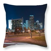 Skyline Of Uptown Charlotte North Carolina At Night. Throw Pillow