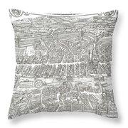 1576 Zurich Switzerland Map Throw Pillow
