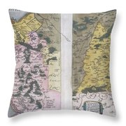 1579 Ortelius Map Of Calais And Vermandois France And Vicinity Throw Pillow