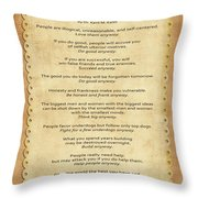 159- The Paradoxical Commandments Throw Pillow