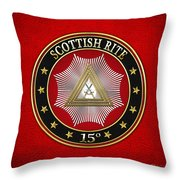15th Degree - Knight Of The East Jewel On Red Leather Throw Pillow