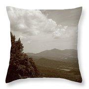 Blue Ridge Mountains - Virginia Sepia 7 Throw Pillow