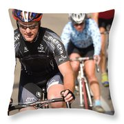 Cyclists Climb A Hill With A Mountain Throw Pillow