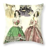 Women's Fashion, 1842 Throw Pillow