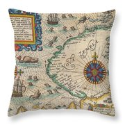 1601 De Bry And De Veer Map Of Nova Zembla And The Northeast Passage Throw Pillow