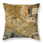 1606 Hondius And Mercator Map Of Mexico Geographicus Hispaniae Nova Mexico Mercator 1606 Throw Pillow