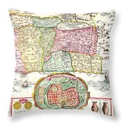 1632 Tirinus Map Of The Holy Land Israel W Numerous Insetsgeographicus Holyland Tirinus 1632 Throw Pillow