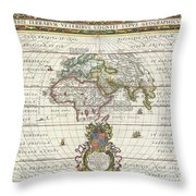 1650 Jansson Map Of The Ancient World Throw Pillow