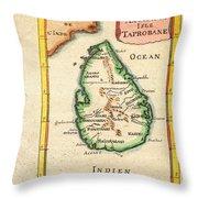 1686 Mallet Map Of Ceylon Or Sri Lanka Taprobane Geographicus Taprobane Mallet 1686 Throw Pillow