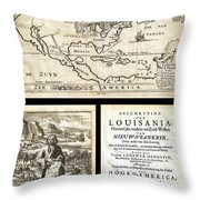 1688 Hennepin First Book And Map Of North America First Printed Map To Name Louisiana Geographicus N Throw Pillow