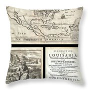 1688 Hennepin First Book And Map Of North America Throw Pillow