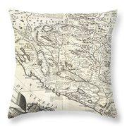 1690 Coronelli Map Of Montenegro Throw Pillow