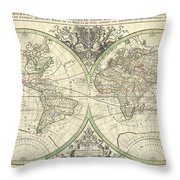 1691 Sanson Map Of The World On Hemisphere Projection Throw Pillow