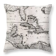 1696 Danckerts Map Of Florida The West Indies And The Caribbean Throw Pillow