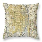 1696 Genroku 9 Early Edo  Japanese Map Of Kyoto Japan Geographicus Kyoto Genroku9 1696 Throw Pillow