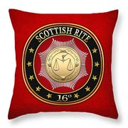 16th Degree - Prince Of Jerusalem Jewel On Red Leather Throw Pillow