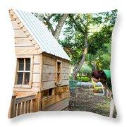 A Backyard Chicken Coop In Austin Throw Pillow
