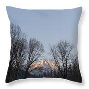 Snow-capped Mountain Throw Pillow
