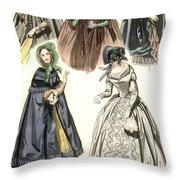 Women's Fashion, 1842 Throw Pillow