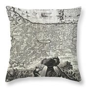1702 Visscher Stoopendaal Map Of Israel Throw Pillow