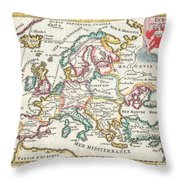 1706 De La Feuille Map Of Europe Throw Pillow
