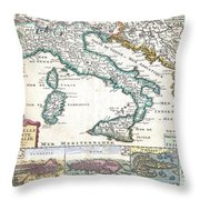 1706 De La Feuille Map Of Italy Throw Pillow