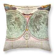 1707 Homann And Doppelmayr Map Of The Moon Geographicus Tabulaselenographicamoon Doppelmayr 1707 Throw Pillow