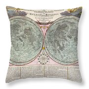 1707 Homann And Doppelmayr Map Of The Moon  Throw Pillow