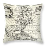 1708 De Lisle Map Of North America Throw Pillow