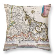 1710 De La Feuille Map Of The Netherlands Belgium And Luxembourg  Throw Pillow