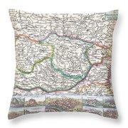 1710 De La Feuille Map Of Transylvania  Moldova Throw Pillow