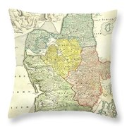 1710 Homann Map Of Denmark Throw Pillow